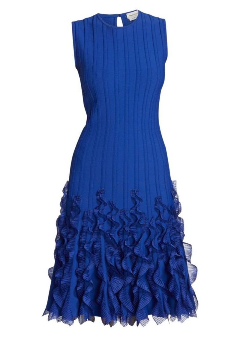Alexander McQueen Sleeveless Ruffle Knit A-Line Dress