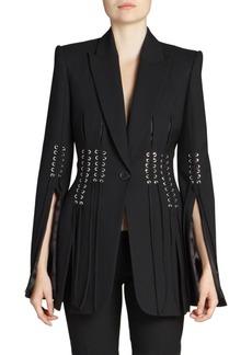 Alexander McQueen Slit-Sleeve Fringed Blazer Jacket