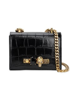 Alexander McQueen Sm Jeweled Croc Embossed Satchel Bag