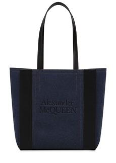 Alexander McQueen Small Signature Denim & Leather Tote