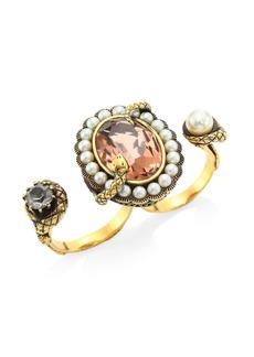Alexander McQueen Swarovski Stone & Crystal Snake Double Ring
