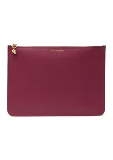 Alexander McQueen Soft Grain Leather Zip Pouch
