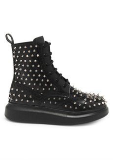 Alexander McQueen Studded Hybrid Leather Lace-Up Boots
