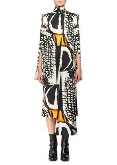 Alexander McQueen Split Long-Sleeve Exploded Bug Print Silk Sheath Dress w/ Attached Scarf