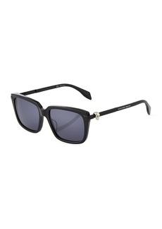 Alexander McQueen Square Acetate/Metal Sunglasses with Solid Lenses