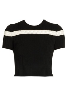 Alexander McQueen Stripe Rib-Knit Crop Top