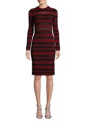 Alexander McQueen Striped Lace Sheath Dress