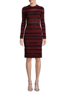Alexander McQueen Striped Lace Sheath Dress