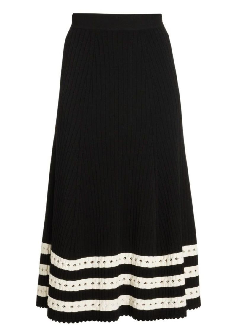 Alexander McQueen Striped Rib-Knit A-Line Skirt