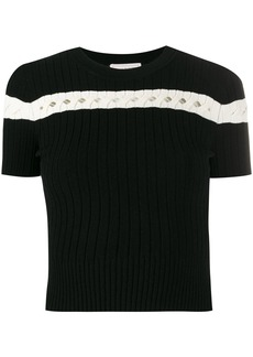 Alexander McQueen striped ribbed-knit top