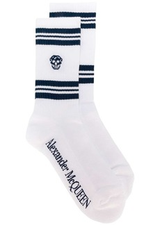 Alexander McQueen striped skull motif socks