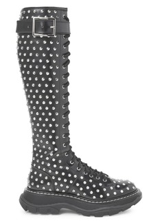 Alexander McQueen Studded Tread Lace-Up Leather Boots
