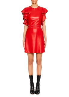 Alexander McQueen Studded Leather Ruffle-Sleeve Cocktail Dress