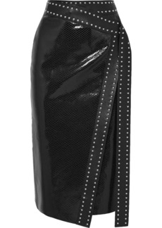 Alexander McQueen Studded Snake-effect Leather Wrap Midi Skirt