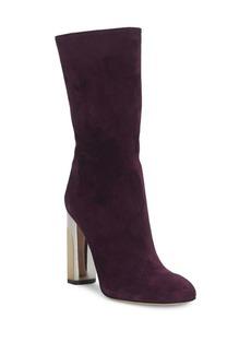 Alexander McQueen Suede Metallic High Heel Boots