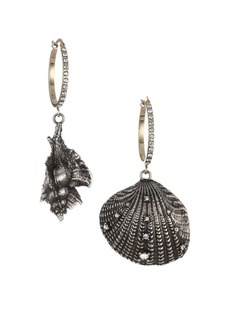 Alexander McQueen Swarovski Crystal & Silvertone Shell Drop Earrings