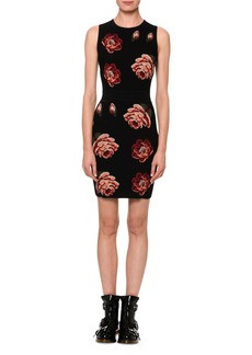 Alexander McQueen Tapestry Rose-Jacquard Sleeveless Sheath Mini Dress