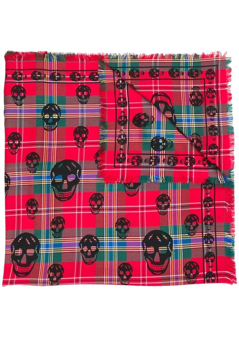 Alexander McQueen tartan skull-print scarf