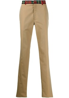 Alexander McQueen tartan trim chino trousers