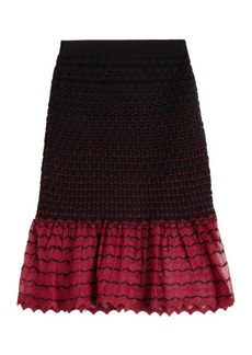 Alexander McQueen Textured Knit Skirt with Contrast Hem
