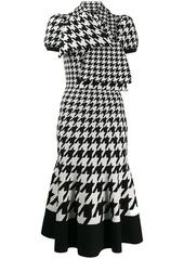 Alexander McQueen tie-neck houndstooth midi-dress