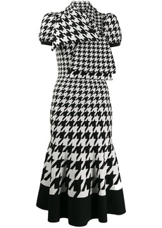 Alexander McQueen tie-neck houndstooth midi-dress