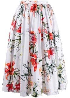 Alexander McQueen tropical flower print skirt