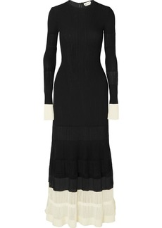 Alexander McQueen Two-tone Paneled Ribbed-knit Maxi Dress