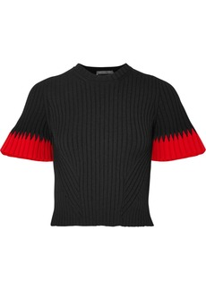 Alexander McQueen Two-tone Ribbed-knit Sweater
