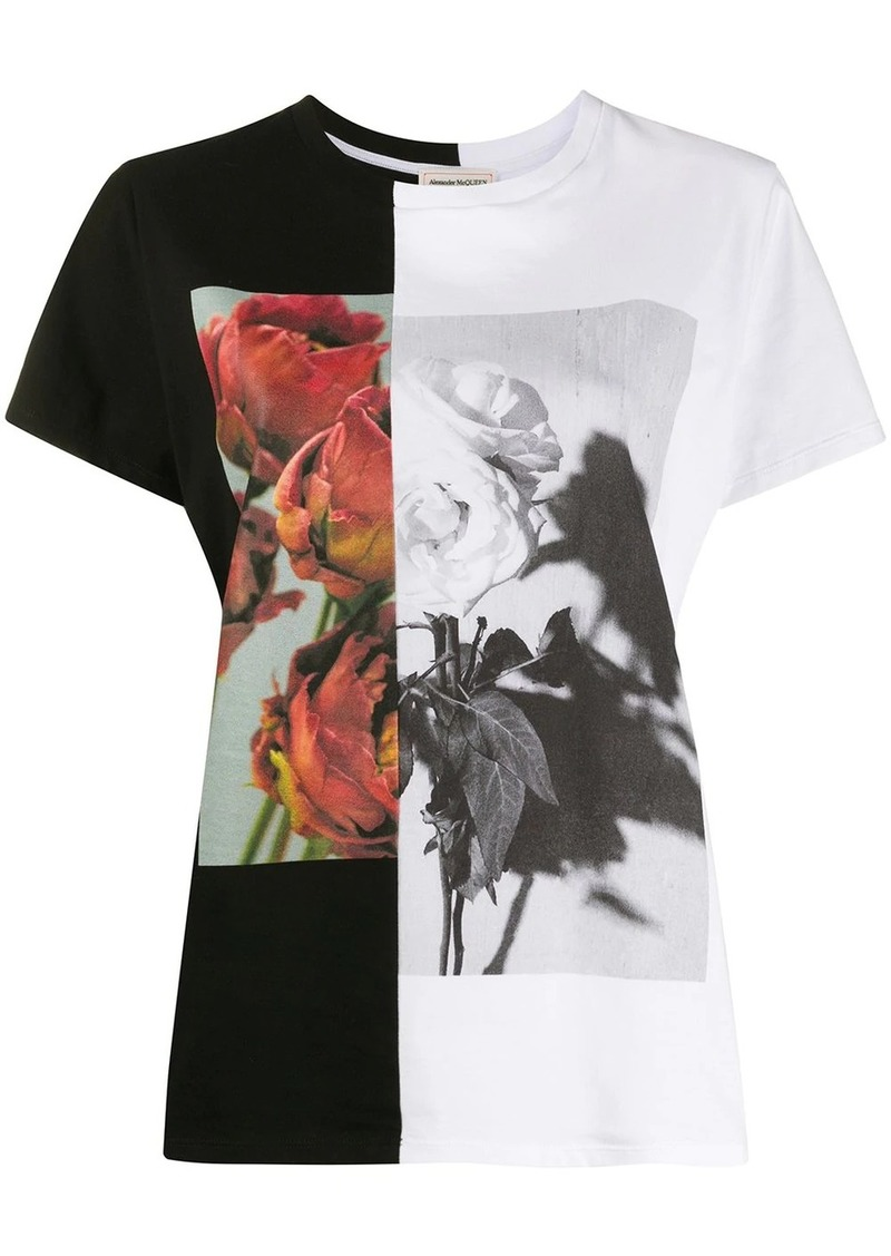 Alexander McQueen two-tone rose print T-shirt