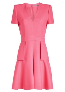 Alexander McQueen V-Neck Peplum Dress