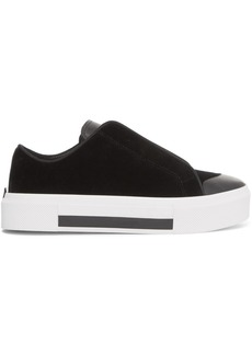 Alexander McQueen Velvet And Leather Exaggerated-sole Sneakers