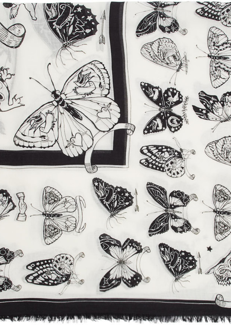 Alexander McQueen White & Black Inked Butterfly Shawl Scarf