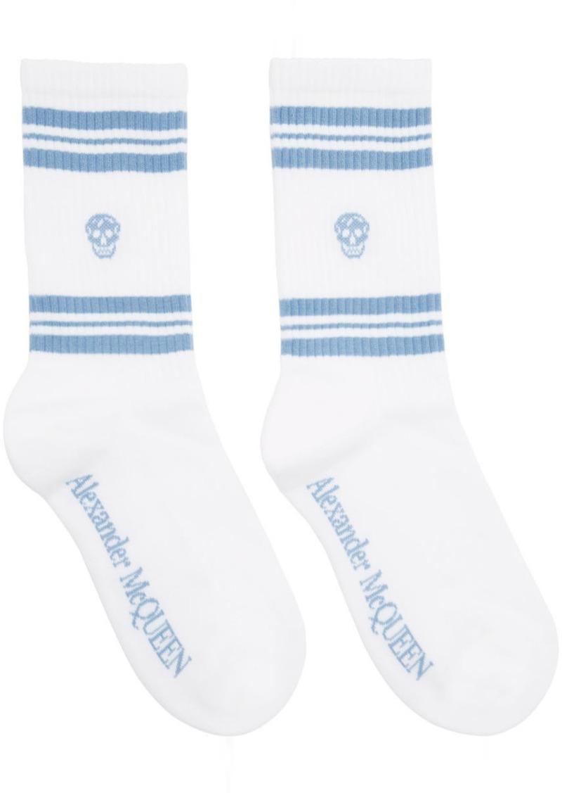 Alexander McQueen White & Blue Stripe Skull Sport Socks