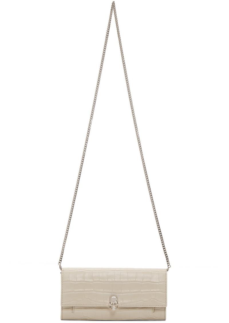 Alexander McQueen White Croc Skull Chain Wallet Bag