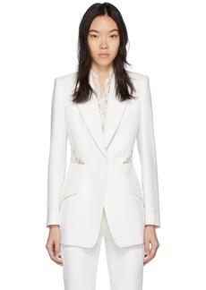 Alexander McQueen White Lace Crepe Blazer