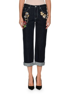 Alexander McQueen Wide-Leg Cropped Jeans with Jeweled Trim