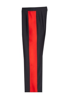 Alexander McQueen Wide Leg Pants with Tuxedo Stripes