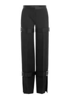 Alexander McQueen Wide Leg Wool Pants with Silk