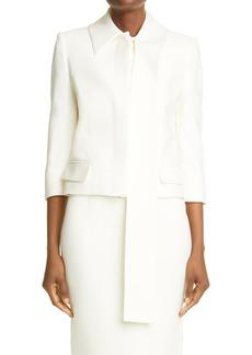 Women's Alexander Mcqueen Scarf Collar Crop Silk Jacket