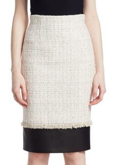 Alexander McQueen Wool Knit Leather Hem Pencil Skirt