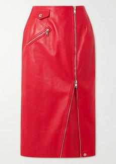 Alexander McQueen Zip-embellished Leather Midi Skirt