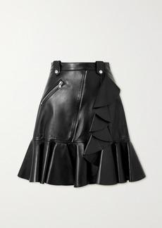 Alexander McQueen Zip-embellished Ruffled Leather Mini Skirt