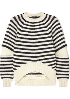 Alexander McQueen Zip-embellished Striped Wool Sweater