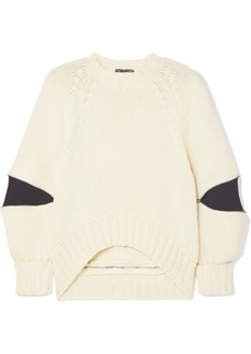 Alexander McQueen Zip-embellished Two-tone Wool Sweater