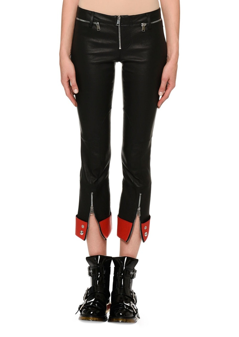 60adc3cdd4d6 Alexander McQueen Zip-Front Straight-Leg Leather Pants