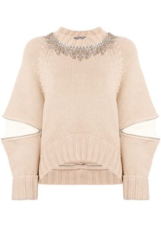 Alexander McQueen zipped elbows embellished jumper