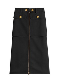 Alexander McQueen Zipped Virgin Wool Skirt with Silk