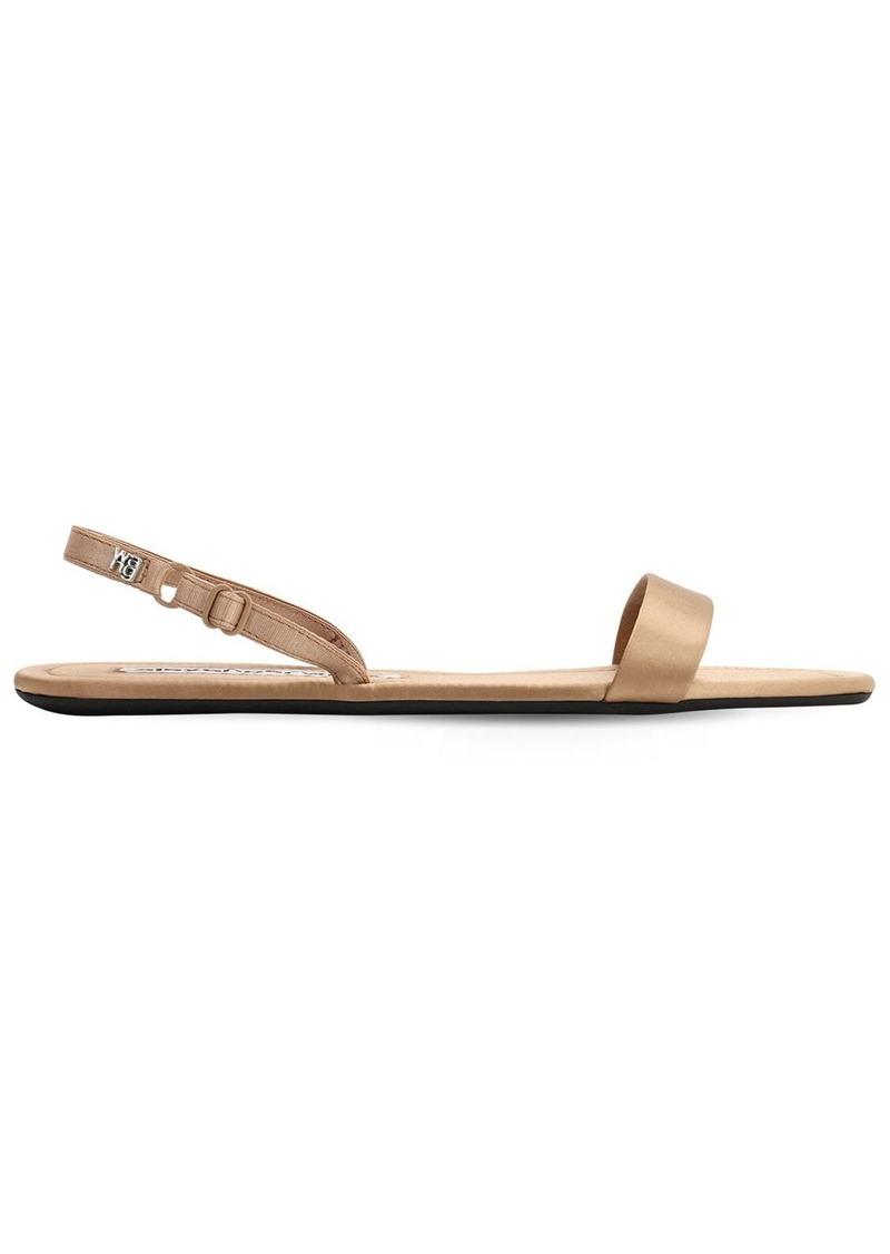 Alexander Wang 10mm Satin Sling Back Flat Sandals