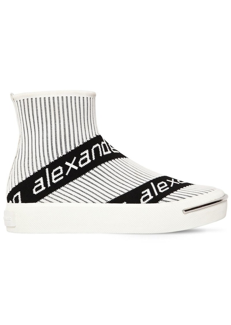 Alexander Wang 20mm Pia Logo Knit Sock Sneakers